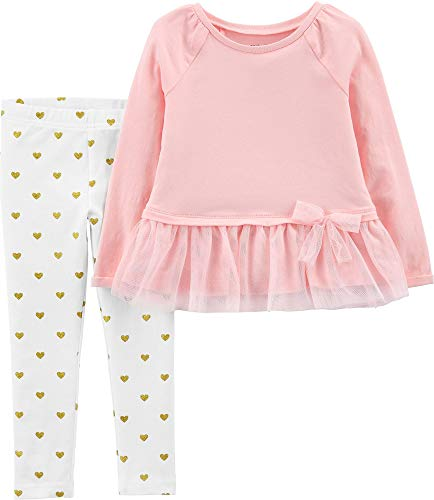 (Carter's Girls' 2-Piece Top and Legging Sets (Pink Peplum/Hearts, 3T))