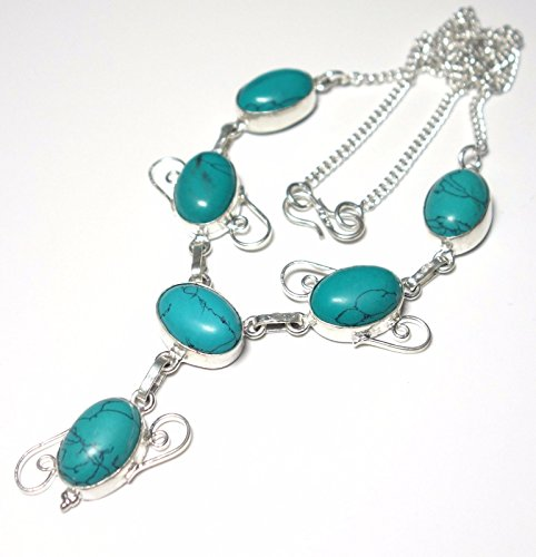 EXOTIC Turquoise Gemstone .925 Silver Necklace (Silver Gallery Turquoise Bracelet)