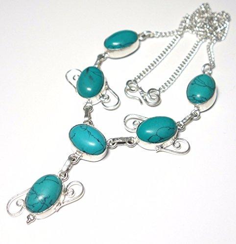EXOTIC Turquoise Gemstone .925 Silver Necklace 18