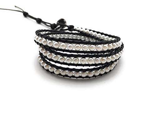 xinpeng Handmade Alloy Leather Natural Stone Bead Statement Bracelet Bangle Cuff Rope 3 Wrap Adjustable Jewelry Collection (Shell Pearl & Black Leather Cord)