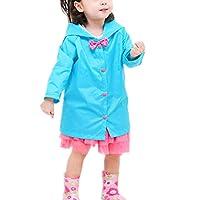 Taiduosheng Age 2~10 Kids Hooded Button Down Jacket Rain Raincoat with Bow Cover Long Rainwear 2XL Blue