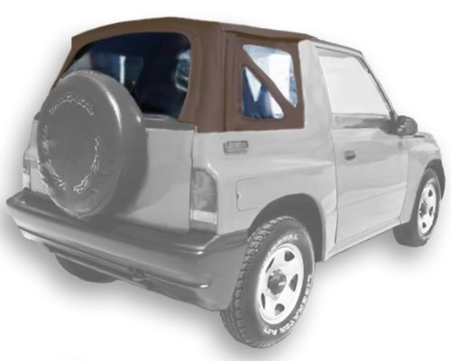 Geo Tracker Acme Auto Headlining Co Acme C729A//Clear-SC1705 Medium Parchment on Grey Sailcloth Vinyl SUV Soft Top for Suzuki Sidekick