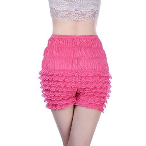 Women's Micromesh Lace Ruffle Tanga Shorts Sexy Ruffled Lace Panties Sissy Pettipant Dance Bloomers Frilly Shorts (Rose Red, Large)