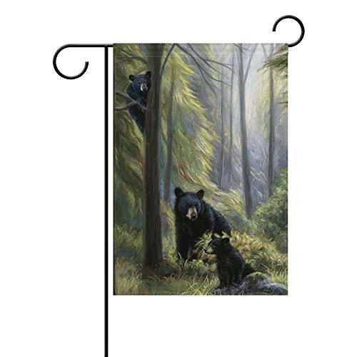 Jojogood Black Bear Family in The Forest Garden Flag 28