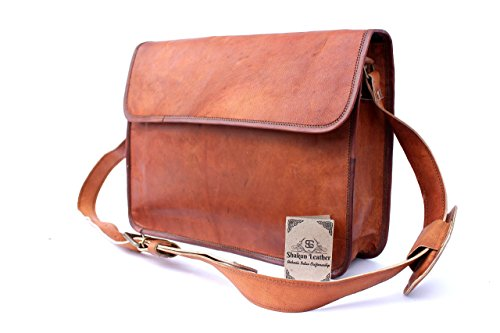 Shakun Leather Handmade Unisex Classic Half Flap Laptop MacBook Business Bag Messenger Satchel Cross Body Travel Bag, 11 x 15 NEW
