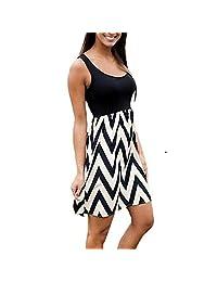 Gloria JR Women's Multi Stripe Knee-Long Chevron Print Tank Casual Summer Dress
