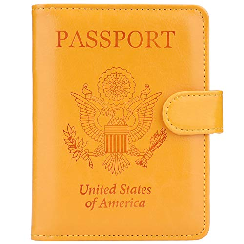 GDTK Leather Passport Holder Cover Case RFID Blocking Travel Wallet (Yellow) ()