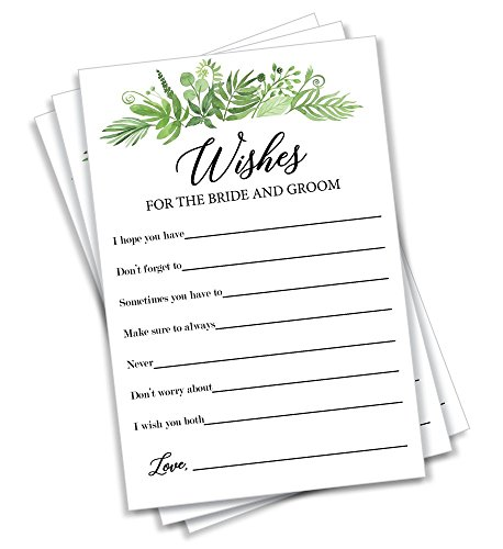 Greenery Wishes for The Bride and Groom - (50-Cards) Wedding Advice and Well Wishes Guest Book Alternative