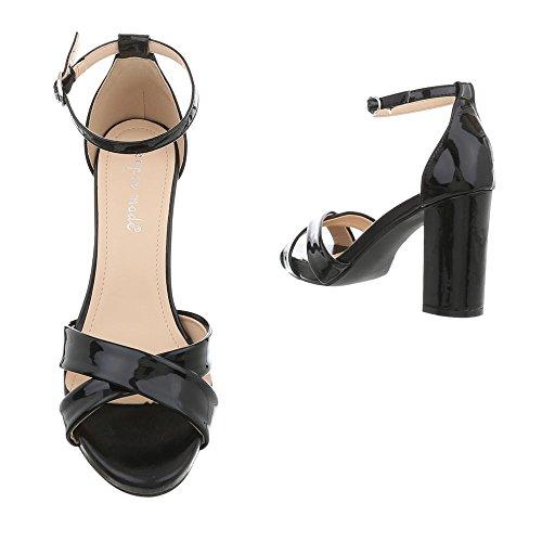Ital-Design Women's Sandals Kitten Heel Heeled Sandals at Black 7031 Ovm3fP5