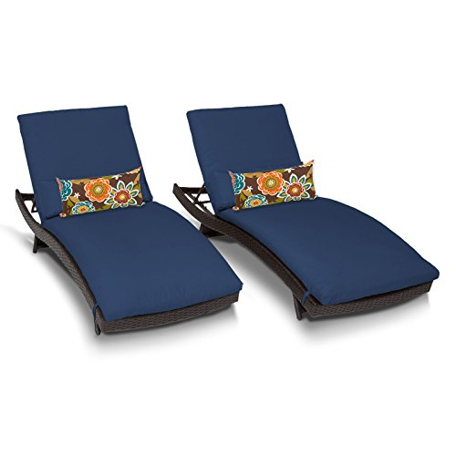 TK Classics Bali Outdoor Wicker Patio Chaise Furniture, Set of 2, Navy
