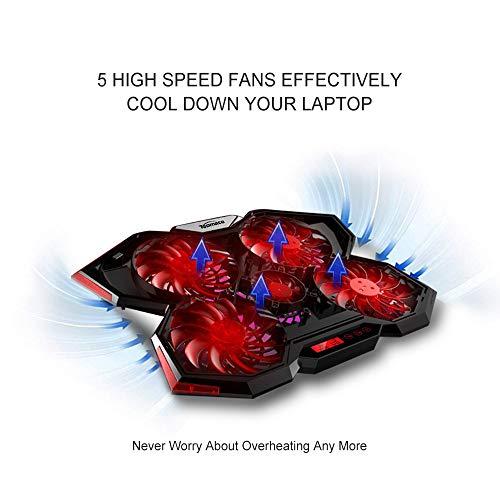 TopMate C7 Base de Refrigeración para Portátiles Gaming de 14-17 Pulgadas | Cinco Ventiladores Grandes y Pantalla Táctil LCD Aire Fuerte 2400 RPM: ...