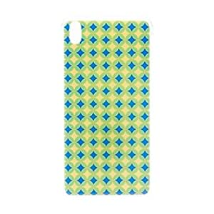 Kinston Blue and Yellow Diamond Pattern TPU Soft Case for HTC Desire 816