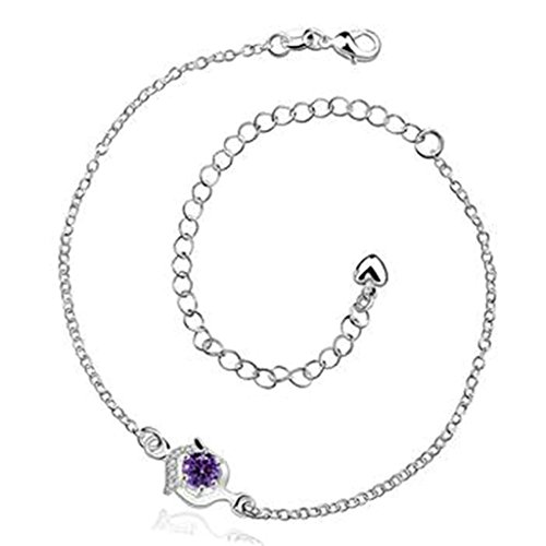 Epinki Jewelry Silver Plated Women Anklet Pendant Heart Purple Crystal Barefoot Foot Chain -