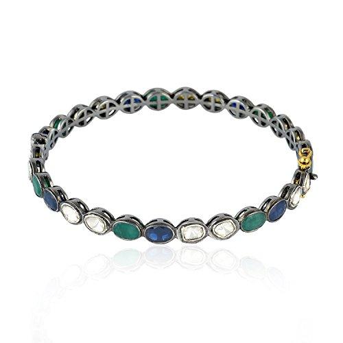 14K Yellow Gold Polki Diamond and Sapphire Bangles Designer Emerald Silver Jewelry