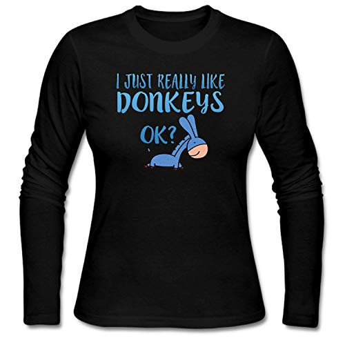 shshiqq Women's I Just Really Like Donkeys OK Long Sleeve T-Shirt Black