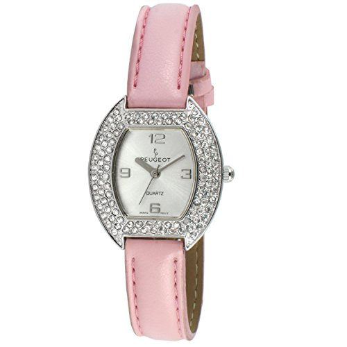 Peugeot Women's 339PK Oval Crystal Bezel Leather Strap Watch