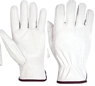 12 pair Cowhide Grain Leather Work Gloves (PPE) Natural Color
