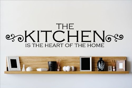 Design with Vinyl OMG 489 Black The Kitchen Is The Heart Of The Home Quote Lettering Decal Home Decor Kitchen Living Room Bathroom,  10 by 40-Inch, Black