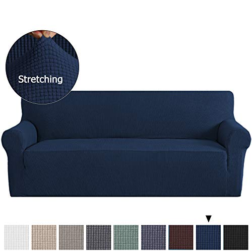 1 Piece Sofa Slipcovers Stretch Furnitue Cover Lycra Spandex Jacquard Fabric Super Soft, Stretching Skid Resistant Sofa Protector - Sofa, Navy ()