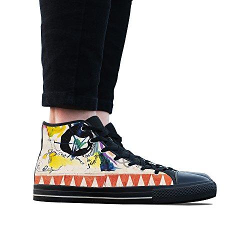 Canvas Schoenen, Custom Graffiti Hoge Top Dames Zwart Klassieke Casual Mode Canvas Sneakers