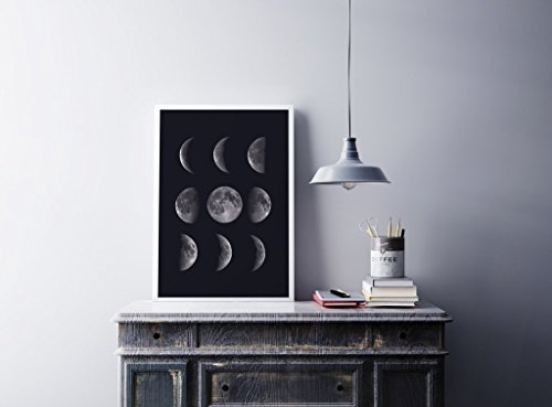 Moon Phases Print, Moon Phases Poster, Lunar Phases, Home Decor, Lunar Phases Art, Astrology