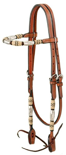 Braided Rawhide Headstall - Tough 1 Browband Headstall with Braided Rawhide and Silver Barrels, Medium Oil