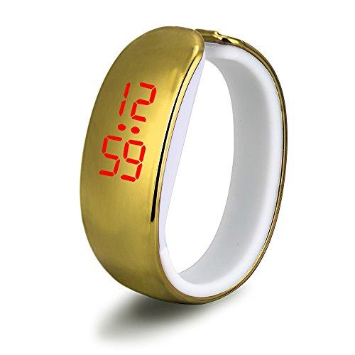 - Outsta Women Ladies Sport LED Plating Waterproof Bracelet Digital Wrist Watch Best Gift (Gold)