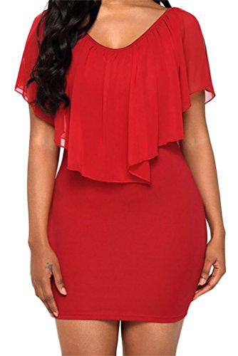Cold Chiffon Fit Red Slim Ruffles Bodycon Womens Domple Mini Shoulder Dress Party 5AxStw
