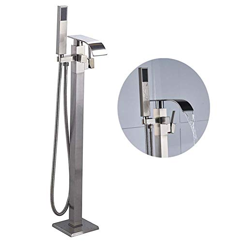 Deck Mounted Bath Shower Mixer - Votamuta Stainless Steel Bathroom Floor Mounted Waterfall Spout Tub Shower Faucet Set Free Staning Bathtub Shower Mixer Tap with Hand Sprayer