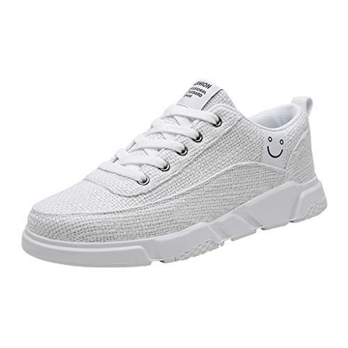 (Men Sport Shoes 2019 Summer Linen Non-Slip Breathable Running Resistant Sneakers (US:9.5, White))
