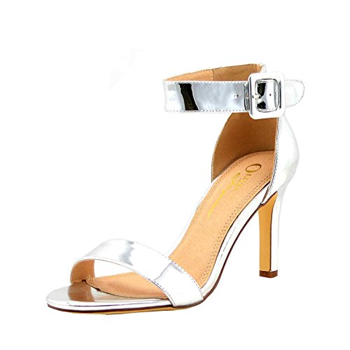 Olivia Jaymes Women's Stiletto Pumps High Heels Open Toe Ankle Strap Platform Formal, Wedding, Party (10, Silver Metallic)