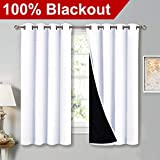 NICETOWN White 100% Blackout Lined Curtains, 2 Thick Layers Completely Blackout Window Treatment Thermal Insulated Drapes for Kitchen/Bedroom (1 Pair, 52 inches Width x 63 inches Length Each Panel)