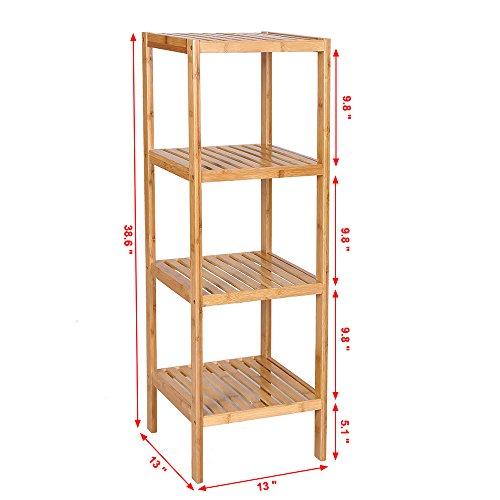 Songmics 100 Bamboo Bathroom Shelf 4 Tier Multifunctional