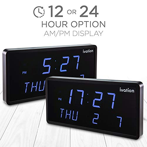 Ivation Big Oversized Digital Blue LED Calendar Clock with Day and Date - Shelf or Wall Mount (12 inches - Blue LED): Amazon.es: Hogar