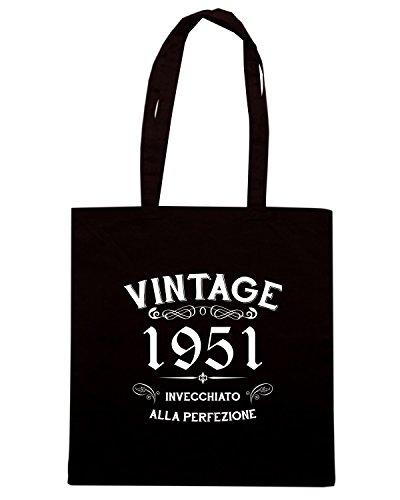 T-Shirtshock - Bolsa para la compra T0895 1951 invecchiato alla perfezione personalizza con tuo anno vintage Negro