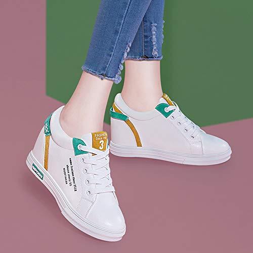 Shoes White Street Small green Flat Joker SFSYDDY Women'S Higher Bottom Casual Inside Shoes 36 wBUPFq