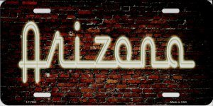 (Smart Blonde Arizona Neon Brick Wall Metal License Plate)