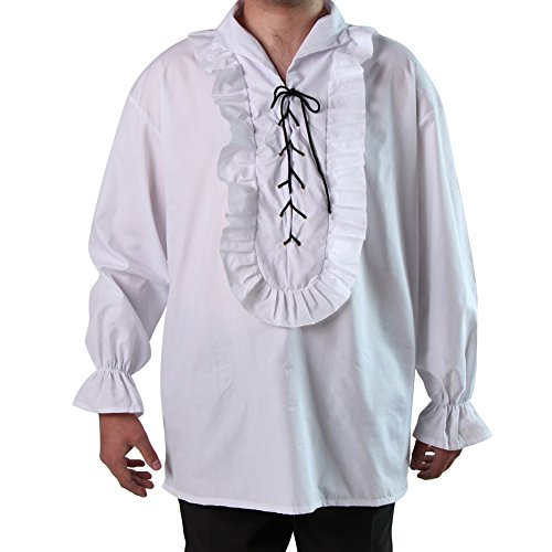 [Men's White Medieval or Poet's Pirate Shirt] (Medieval Shirt Adult Costumes)