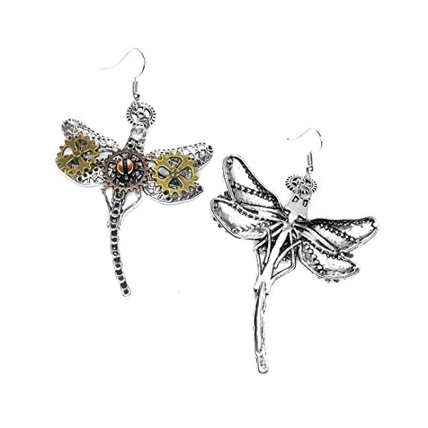Joji Boutique Steampunk Collection: Mix-Tone Dragonfly Drop Earrings 4
