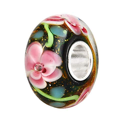 Hawaii Spring Flower Pink Murano Lampwork European Glass Crystal Charms Beads fit for DIY Charm Bracelet & Necklace