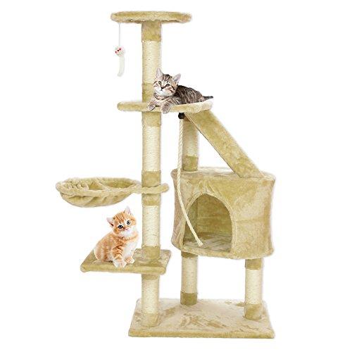 Cozy Pet Deluxe Arbre De Chat – Chaton Arbres - Avec Griffoir Et Centre D Activites - Tour De Grattage Sisal Naturel – Dans Exclusif Cozy Pet Beige - Modèle CT03-Beige