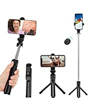 Phone Tripod, Bluetooth Selfie Stick with Remote, Wireless Extendable Selfie Stick Tripod Stand, Portable & Lightweight Tripod Phone - for Apple & Android Devices