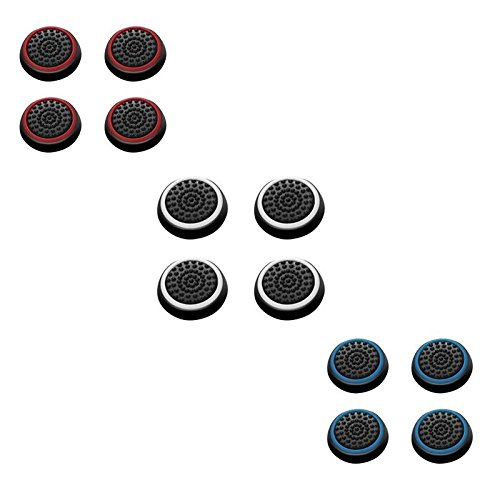 - Insten [6 Pair / 12 Pcs] Silicone Analog Thumb Grip Stick Cover for PS4 Dualshock 4/ PS3 Dualshock 3/ PS2 Dualshock/ Xbox One Wireless/ Xbox 360 Controllers (Black/Red, Black/Blue, Black/White)