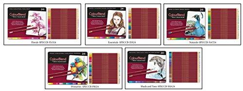 Set of 5 ColourBlend by Spectrum Noir New, 120 Artist's Pencils-Each Set 24 Piece Pencil Tin x 5- Florals, Essentials, Naturals, Primaries and Shade and Tone by Spectrum Noir