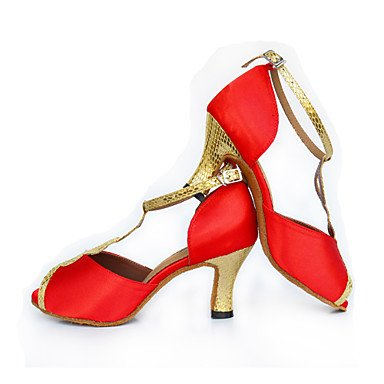 Baile Latino Zapatos de Zapatillas Moderno Rojo baile Black Personalizables Jazz de Negro Tacón Cuadrado 6RURw8