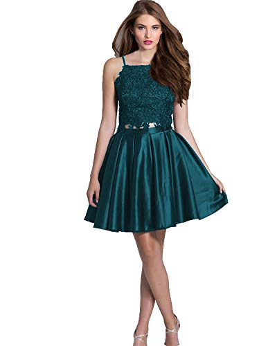 Homecoming Dress Teal (Lily Wedding Juniors Short 2 Piece Prom Dress Sleeveless Lace Satin Homecoming Party Dress Teal Size 4)