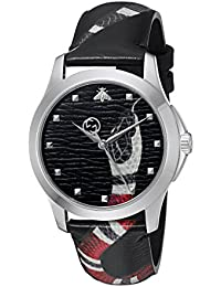Quartz Stainless Steel and Leather Casual Black Mens Watch(Model: YA1264007). Gucci