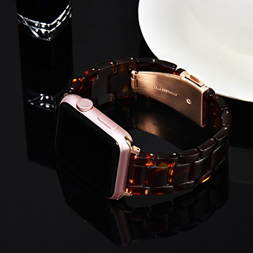 V_moro 38mm Apple Watch Band Women Men- Fashion Resin iWatch Band Bracelet With Copper Stainless Steel Buckle for Apple Watch Series 3 Series 2 Series 1 (Tortoise-tone, 38mm(5''-7.67'')) by V_moro (Image #1)