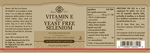 Solgar Vitamina E con Selenio (sin levadura) Cápsulas vegetales ...