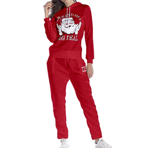 unyielding1 Women's top and Jogger Pants Sweatsuit Set Collection Sportswear(Red M)